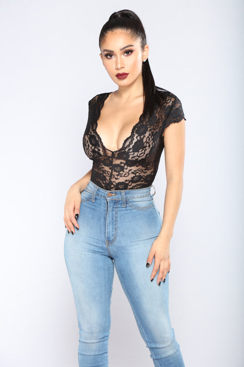 Seven Days A Week Lace Bodysuit - Black