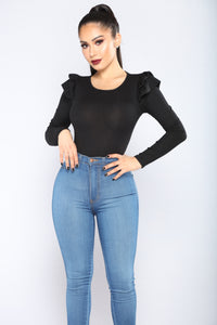 Nina Ruffle Shoulder Top - Black