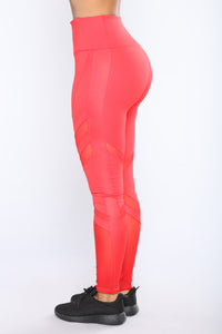 Don't Mesh With Me Active Leggings - Red