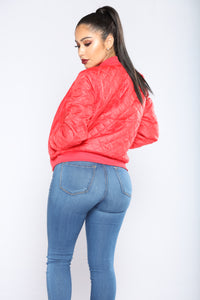 City Nights Bomber Jacket - Red