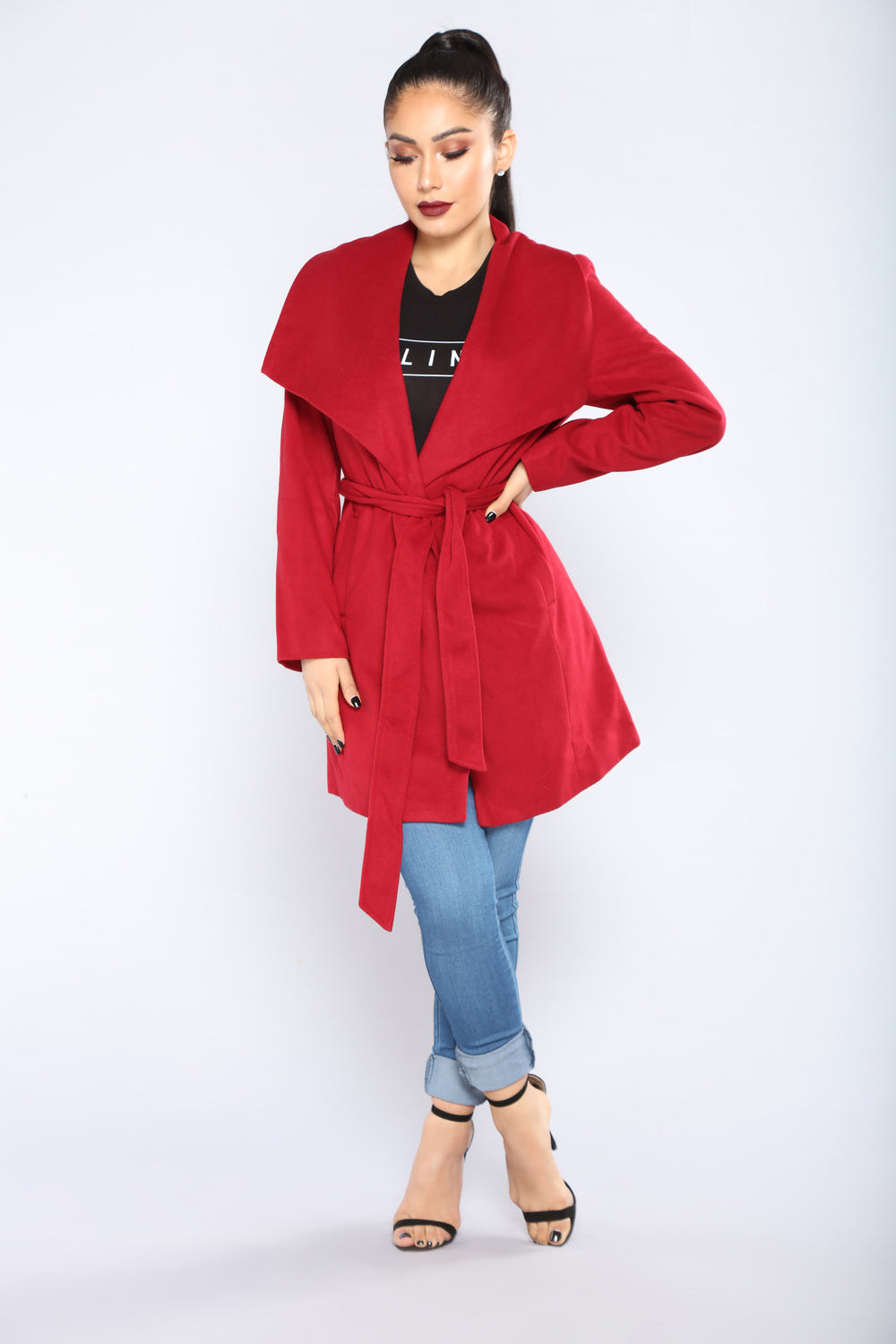 City Girl Vibes Coat - Wine