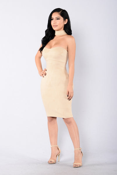 That Girl For Real Dress - Light Taupe