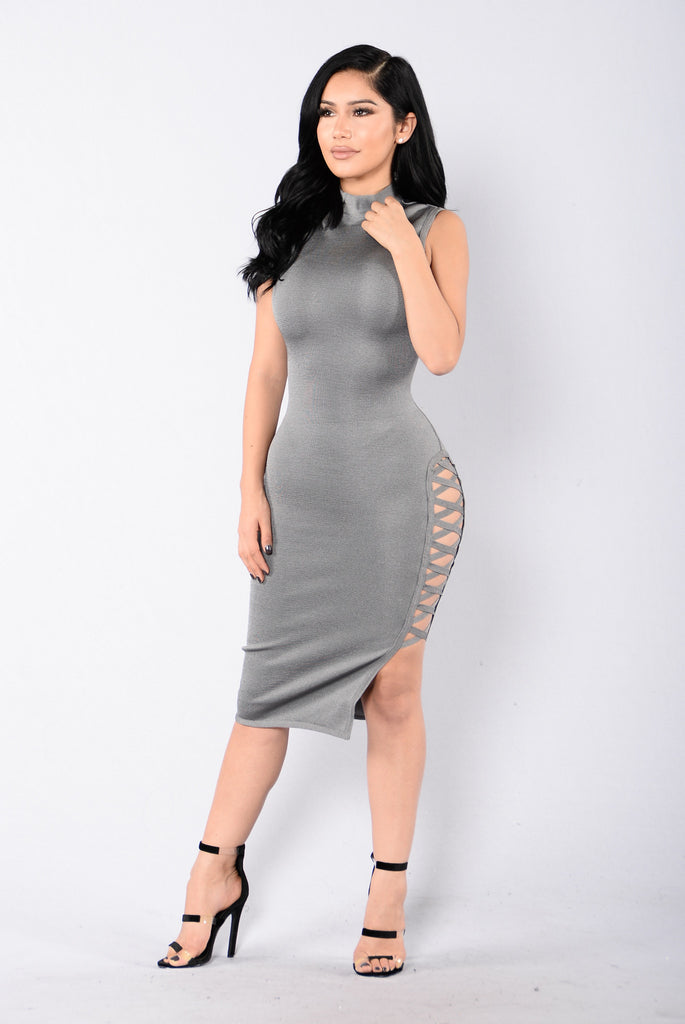 Drinks On Me Bandage Dress - Charcoal Grey
