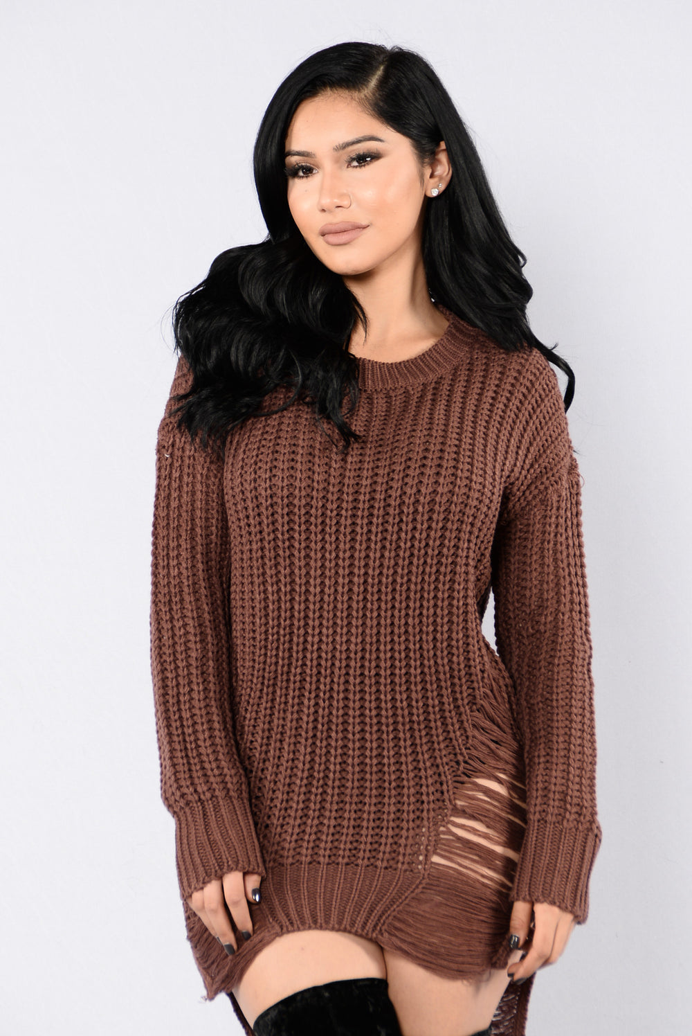 Unraveled Sweater - Red Brown