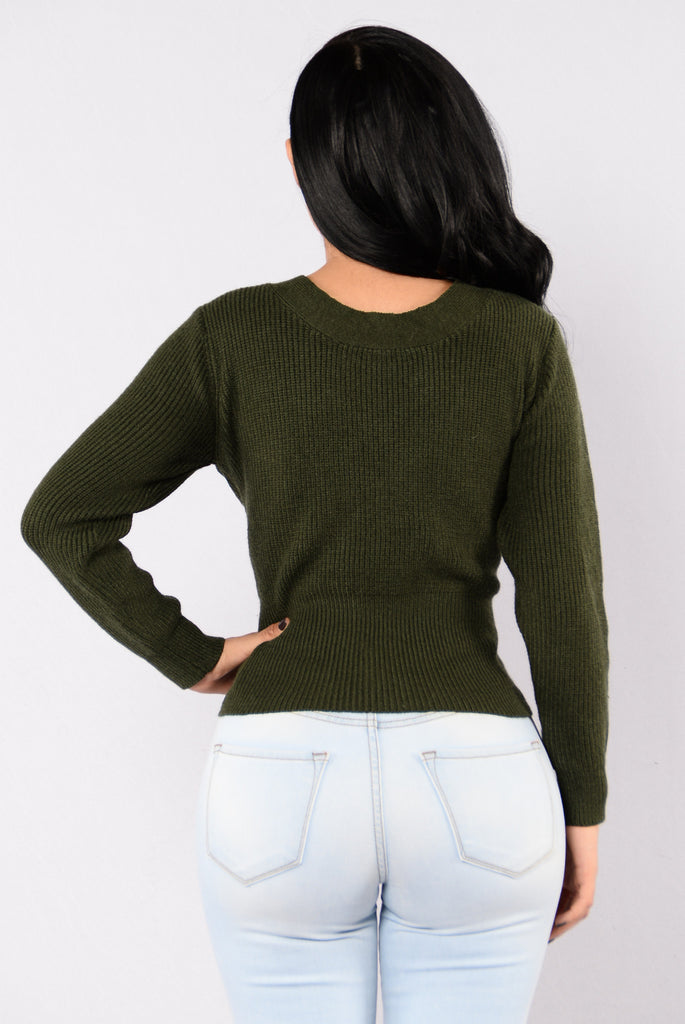 Make Some Trouble Sweater - Olive