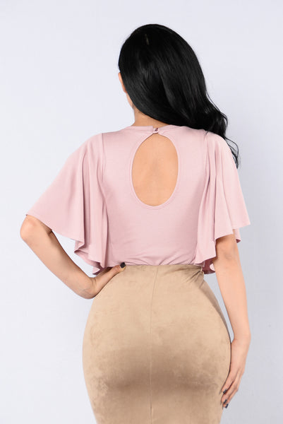 Shoulder Shrug Bodysuit - Mauve