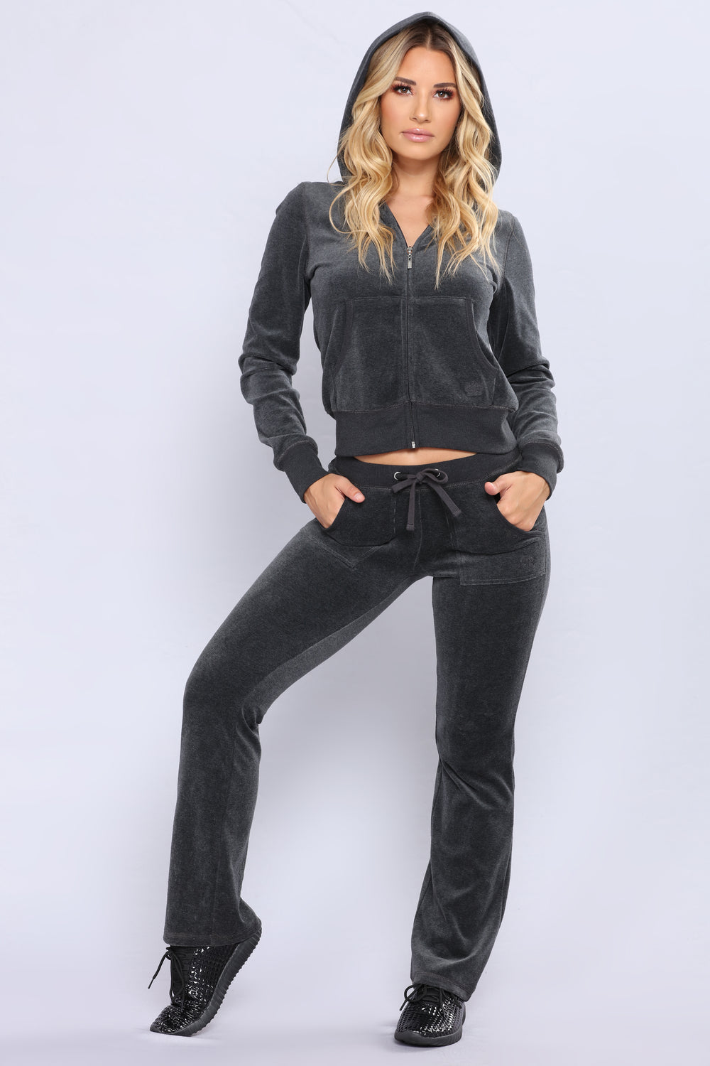 Girl Next Door Velour Lounge Set - Charcoal