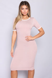 Just The Girl Striped Dress - Mauve/White