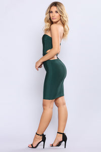 Feel Connected Bandage Dress - Hunter Green