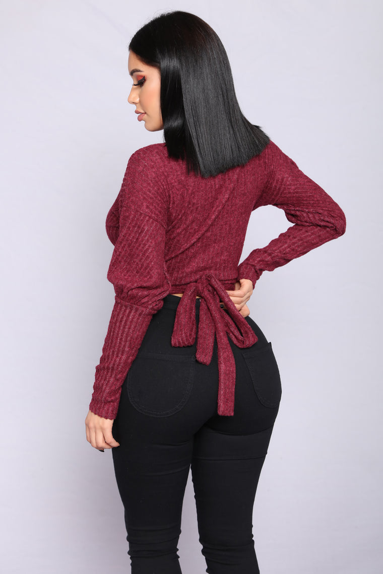 In Your Embrace Wrap Top - Wine