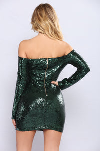 Watch Me Shine Sequin Dress - Hunter