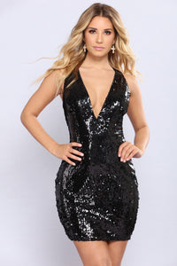 Make Headline Sequin Dress - Black
