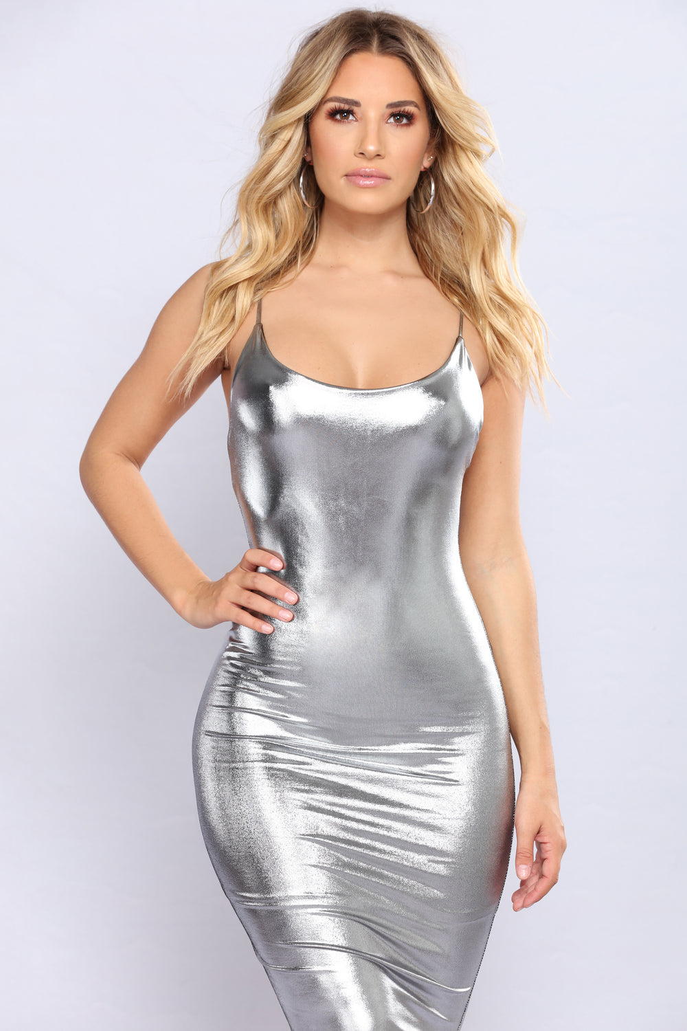 Electric Feeling Metallic Dress - Silver