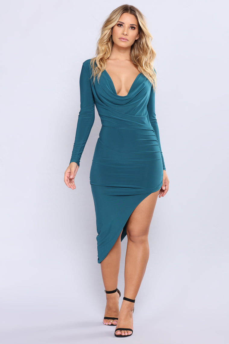 Christen Ruched Dress - Hunter Green