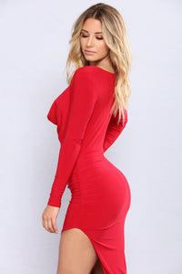 Christen Ruched Dress - Red