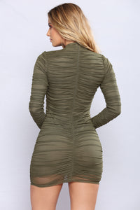 Paparazzi Ruched Dress - Olive