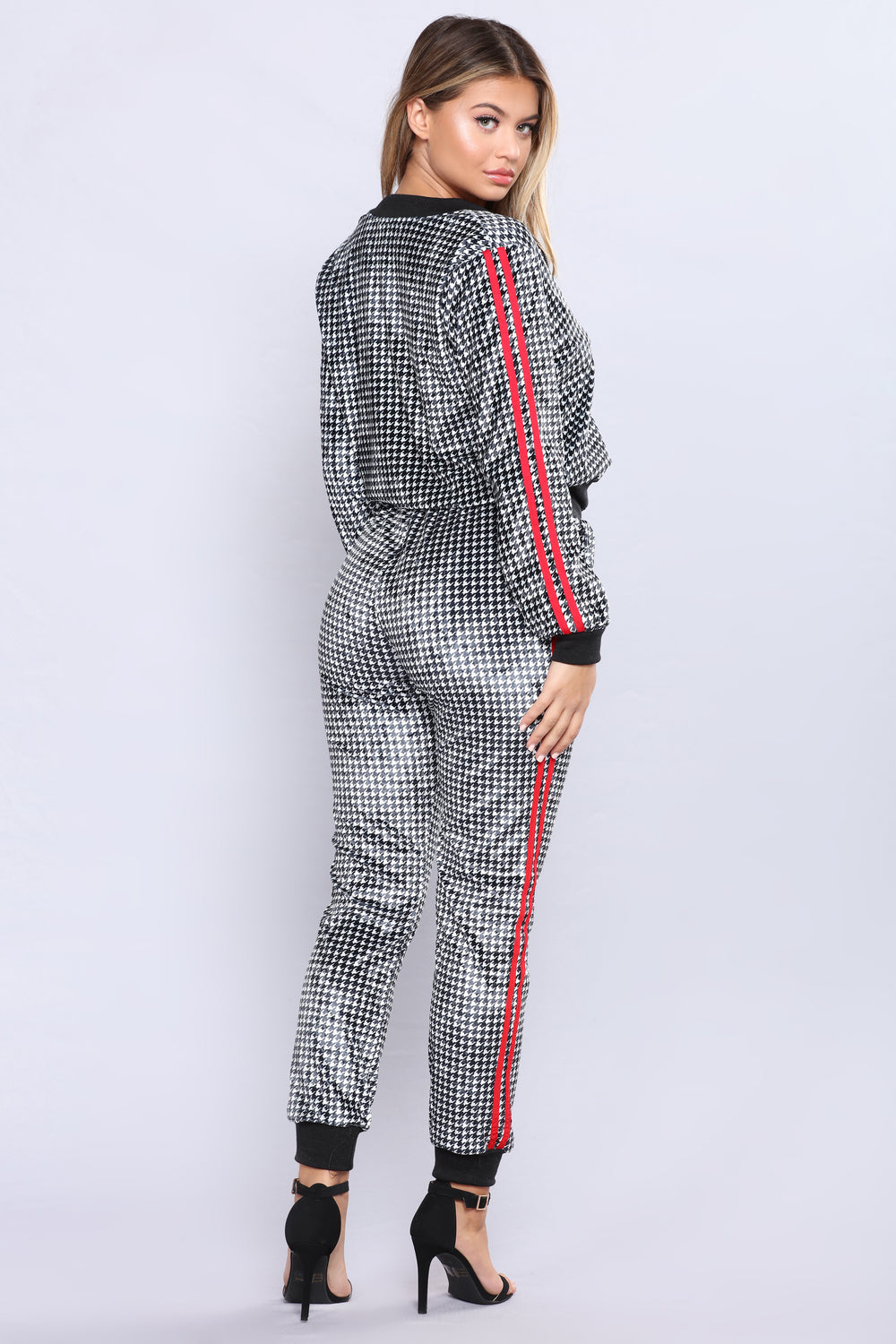 Sheyna Houndstooth Velvet Lounge Set - Black/White