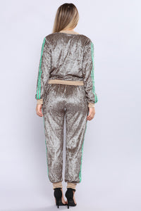 Sheyna Houndstooth Velvet Lounge Set - Camel/Black