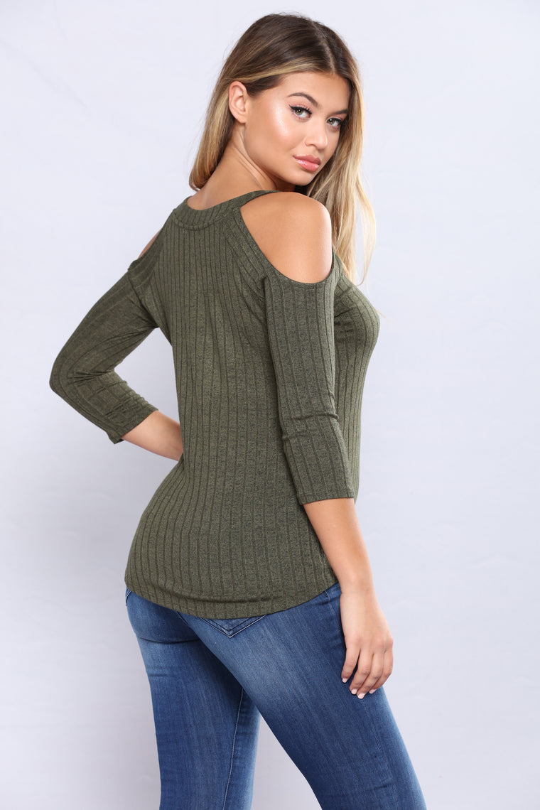 So Sprung Ribbed Top - Olive