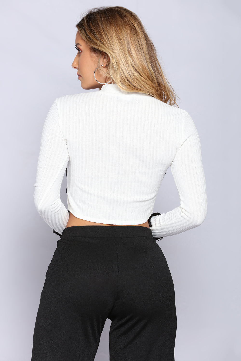 Just One Look Ribbed Top - Ivory