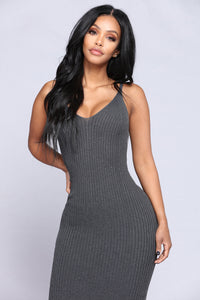 Joan Knit Dress - Charcoal
