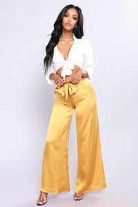 Sarinna Satin High Waisted Pants - Mustard