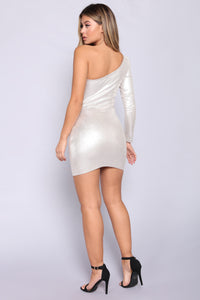Diamond Sky Metallic Dress - Silver