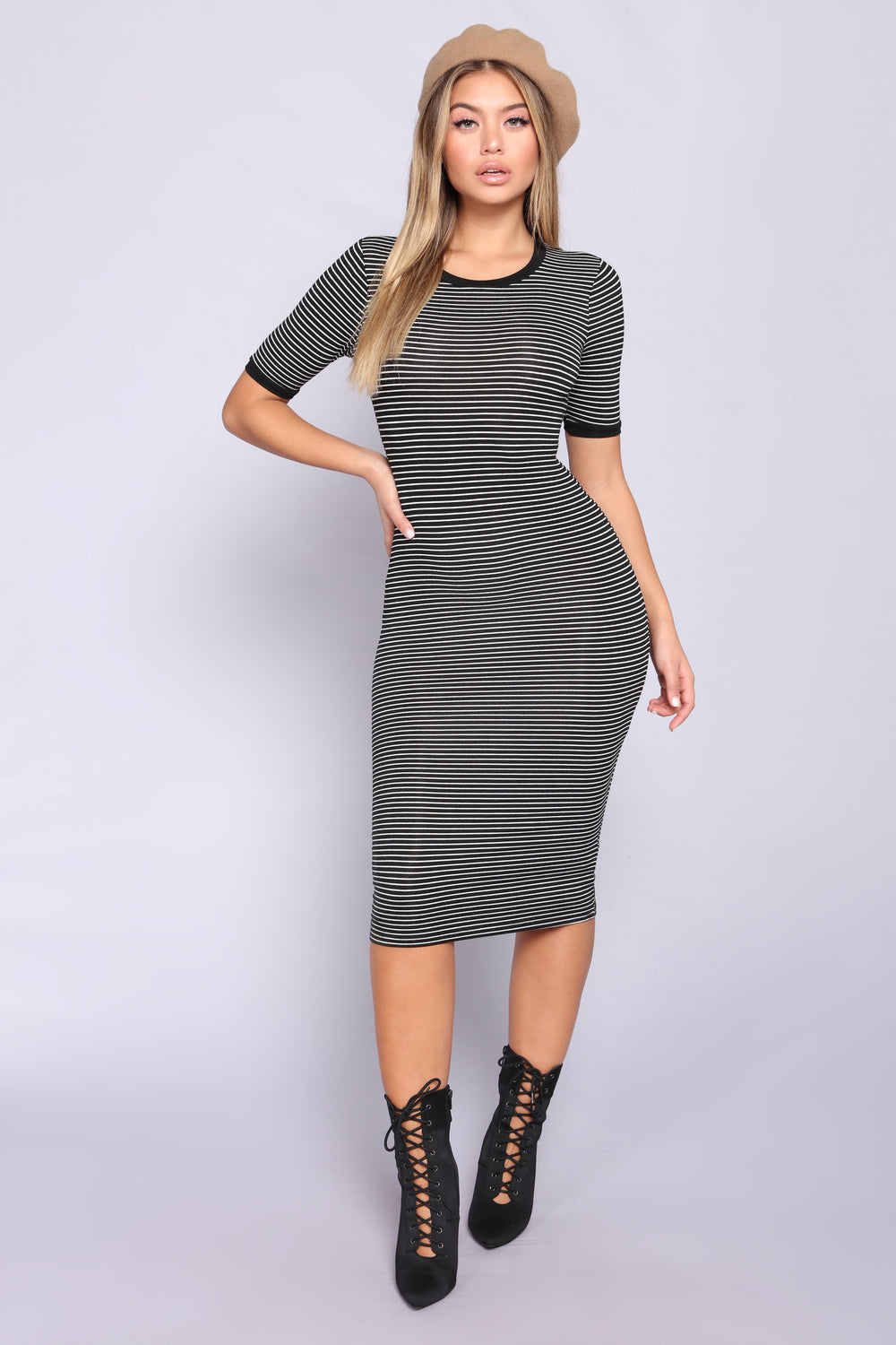 Just The Girl Striped Dress - Black/White