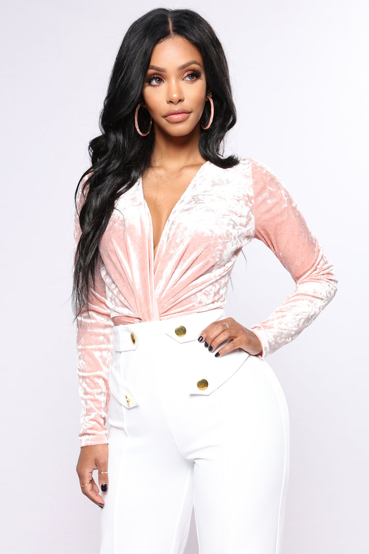 Crushed Velvet Twist Bodysuit - Nude