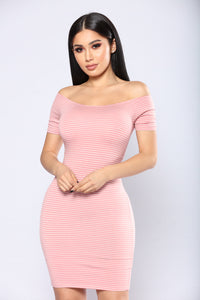 Can't Keep A Secret Striped Dress - Rose/White