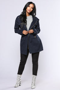 Stacy Hooded Utility Jacket - Navy