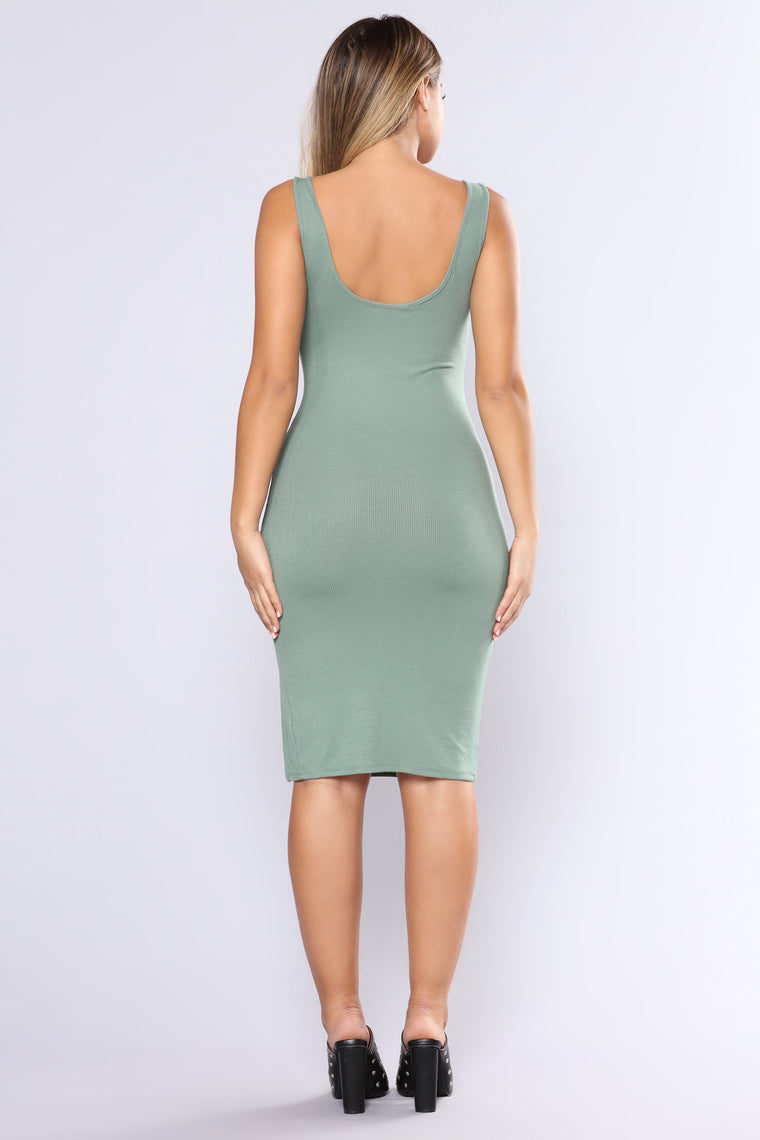 Bittersweet Midi Dress - Sage