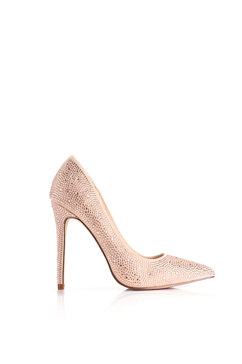 Fancy Jeweled Pump - Rose Gold