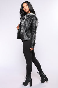 Alexa Faux Leather Jacket - Black