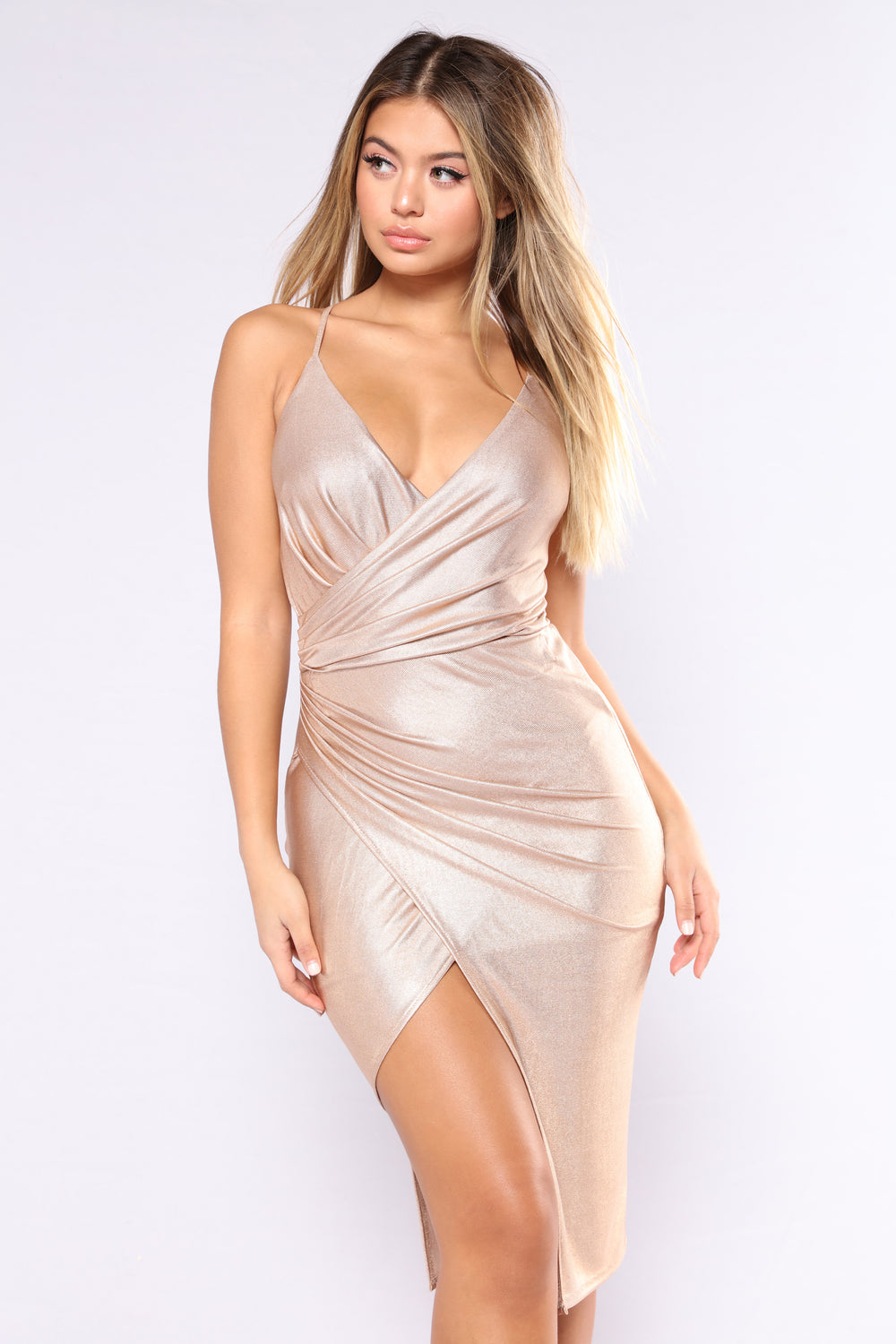Staying In Paris Draped Dress - Gold