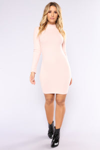 Frankie Ribbed Dress - Rose