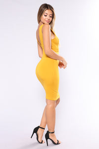 Three Words Midi Dress - Mustard