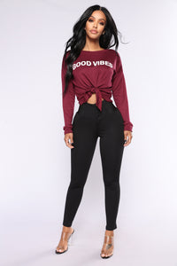 Good Vibes Top - Burgundy