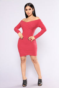 Depend On Me Sweater Dress - Burgundy