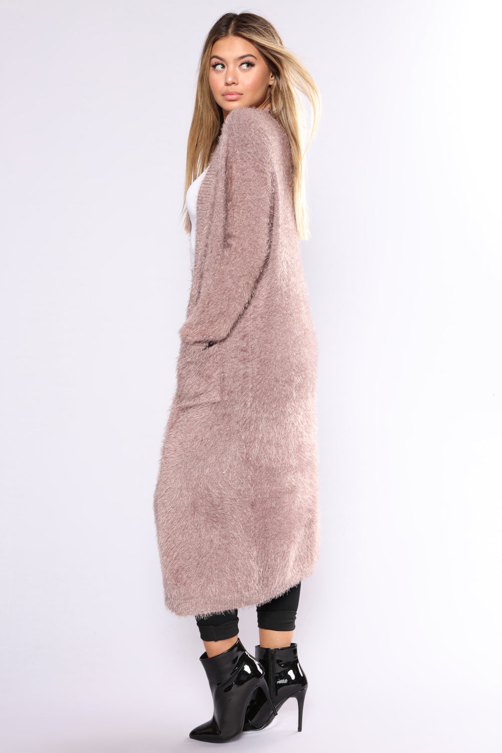Warm By The Fireplace Fuzzy Cardigan - Wood Rose