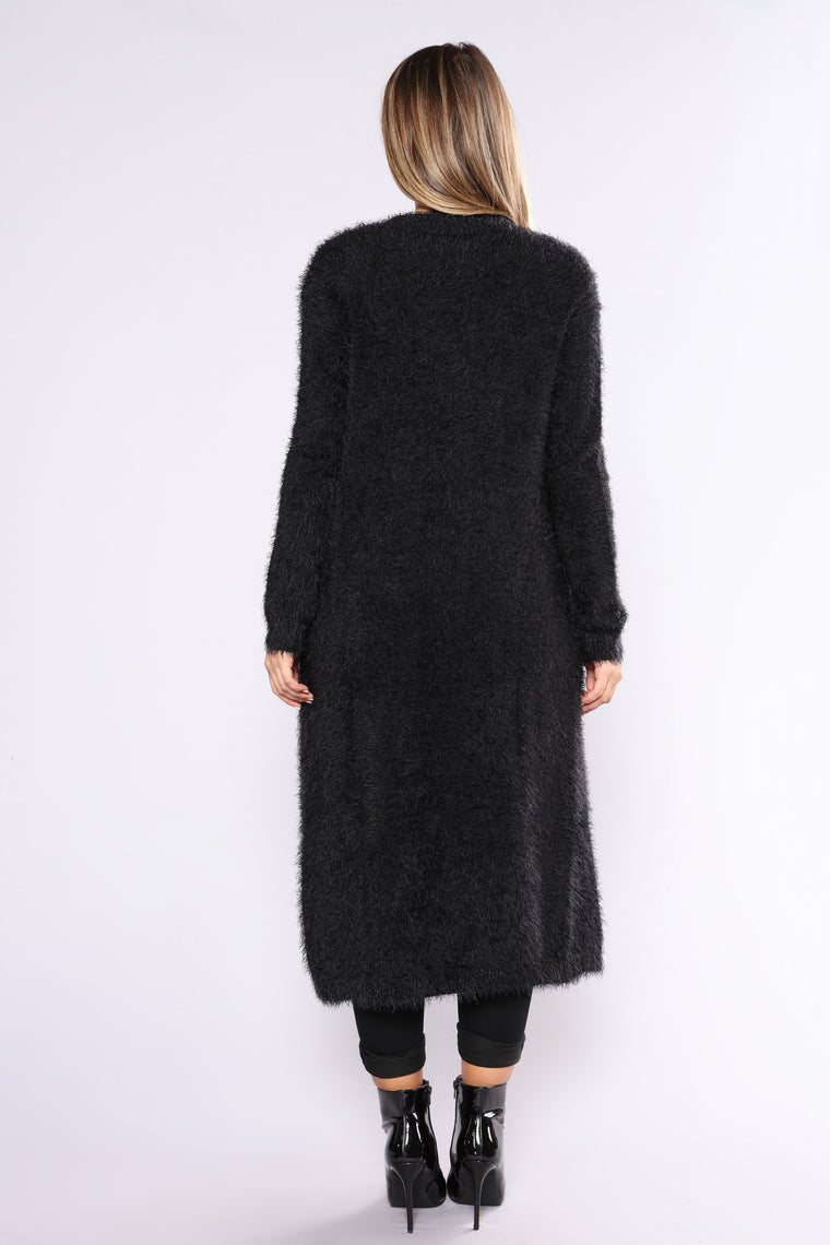 Warm By The Fireplace Fuzzy Cardigan - Black