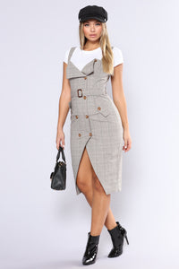 Out Of The Trenches Plaid Dress - Light Brown Angle 5