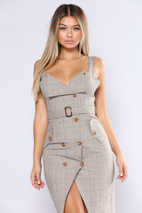 Out Of The Trenches Plaid Dress - Light Brown Angle 6