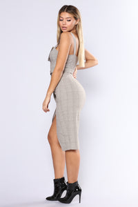 Out Of The Trenches Plaid Dress - Light Brown