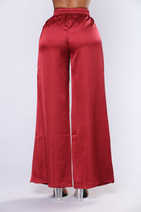 Sarinna Satin High Waisted Pants - Burgundy