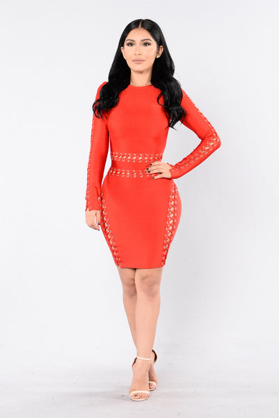 Kamez Bandage Dress - Red