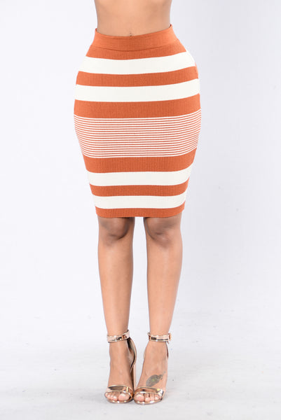 Best Of Times Skirt - Rust/Ivory
