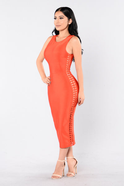 Hold Your Head High Bandage Dress - Dark Orange