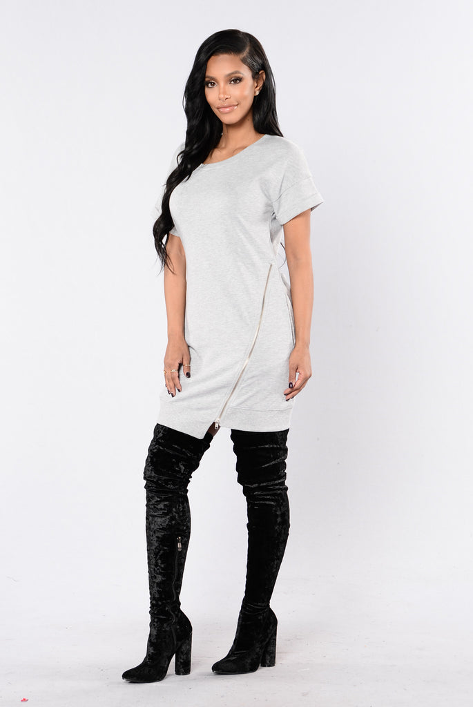 Push To The Edge Dress - Heather Grey