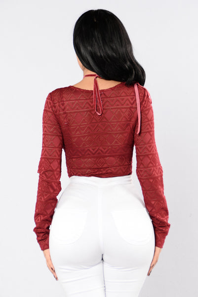 Holiday Bliss Bodysuit - Burgundy
